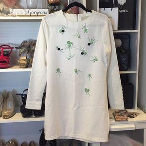 Arrogant Cat dress London White&Green embellished